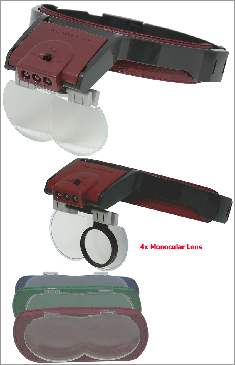 MegaView Pro Lighted Magnifier Headset with Three Lenses and single eye lens(4X)
