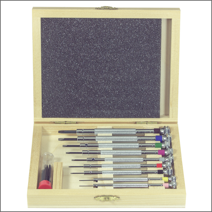 Watchmaker Screwdrivers Set of 9 Wood Box