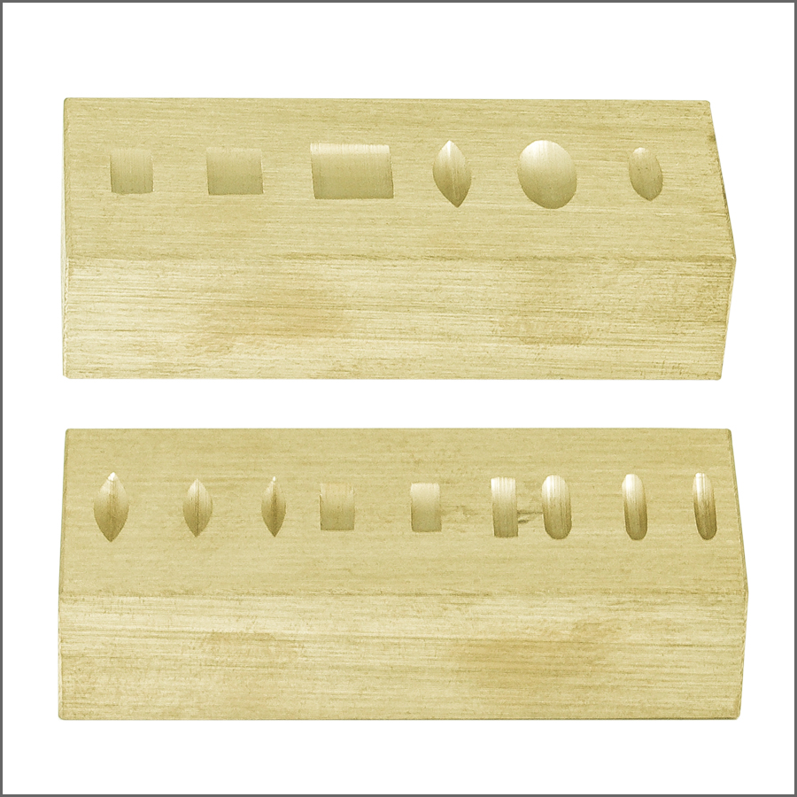 DOUBLE SIDED BRASS RING STAMPING BLOCK 2-3/4 X 1-1/8 X 5/8