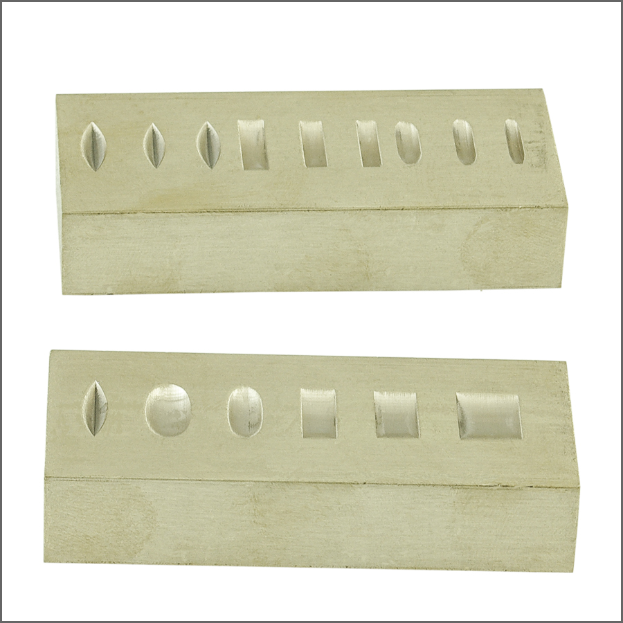 DOUBLE SIDED BRASS RING STAMPING BLOCK 3 X 1-1/4 X 3/4