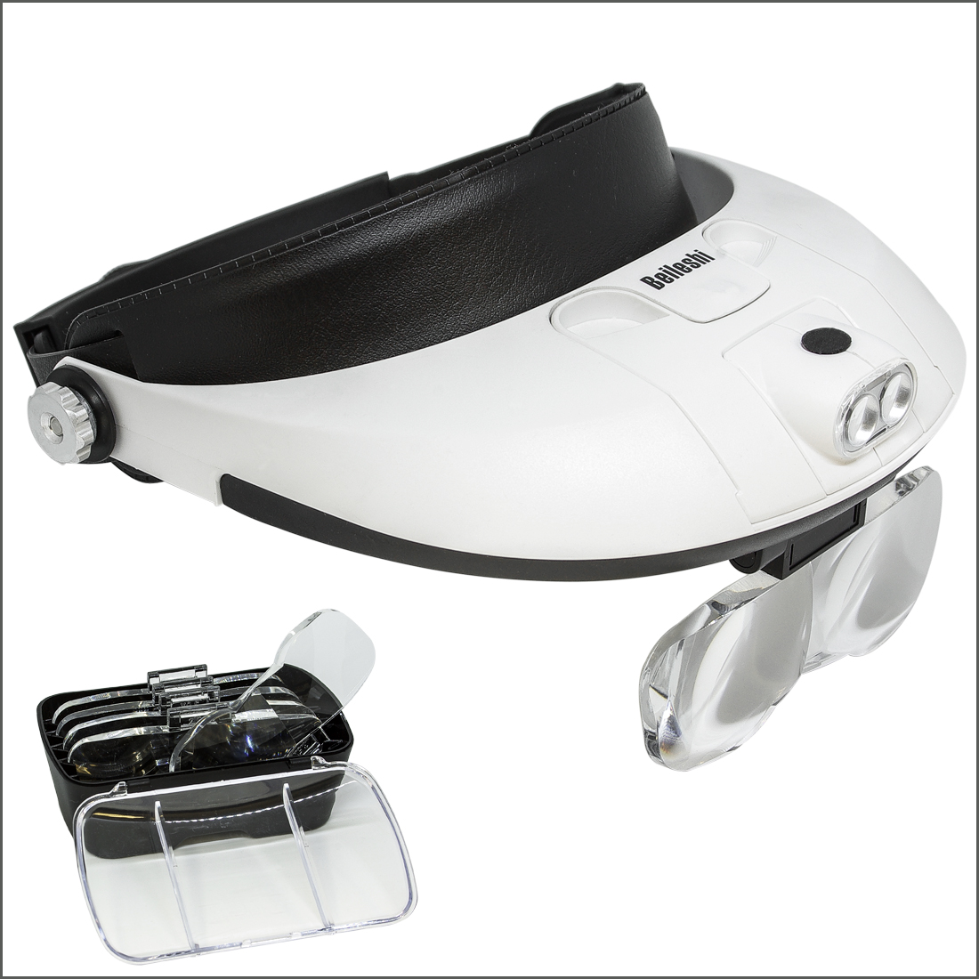 LED Illunminating Headband Magnifier with 5 interchangable lenses
