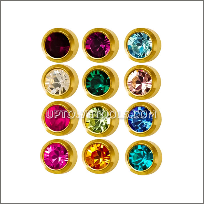 STUDEX SURGICAL EAR PIERCING STUDS / GOLD PLATED MINI BIRTHSTONE ASSORTED  M213Y