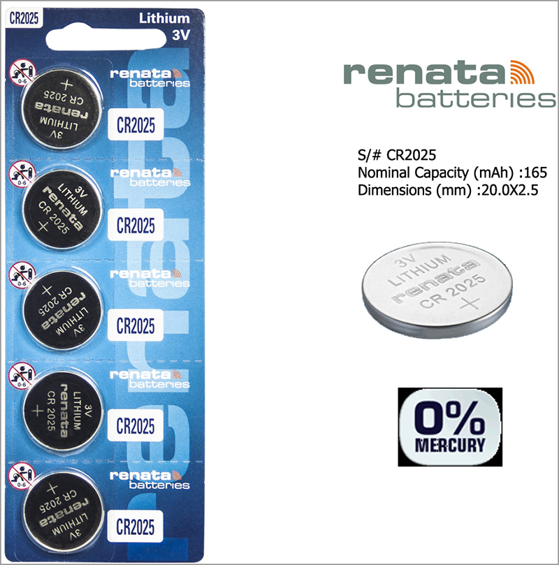 RENATA Cr2025 3V Lithium Batteries
