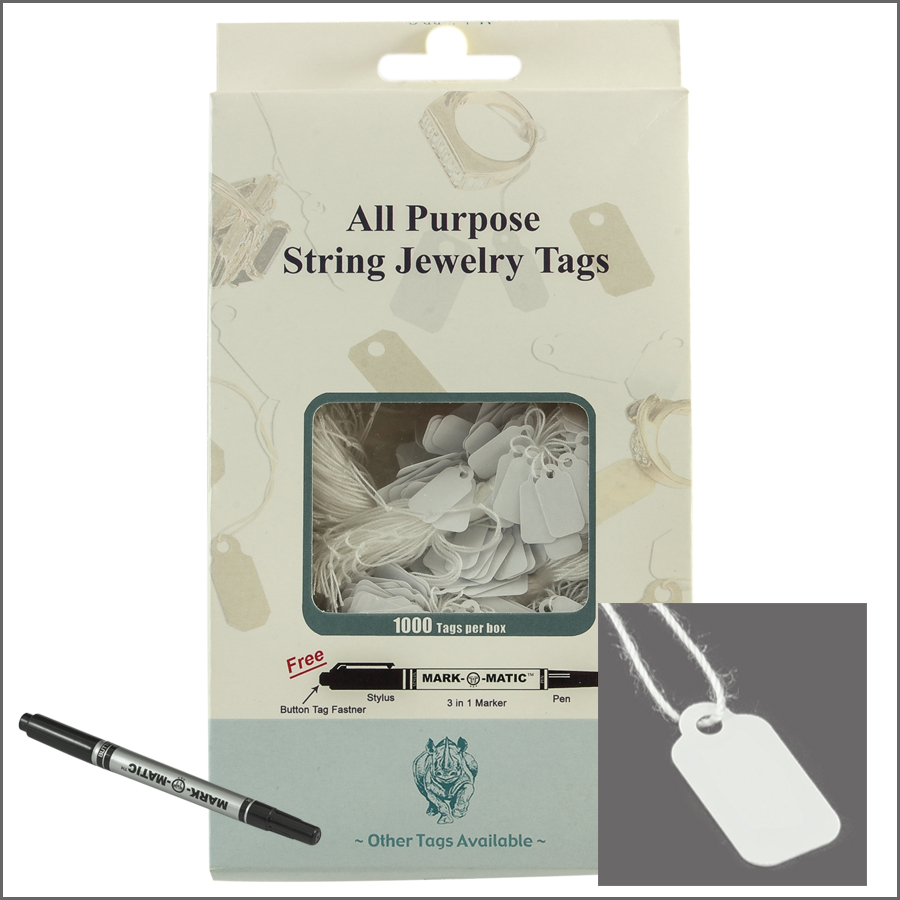 all purpose White  String jewelry Tags 8mm x 16mm