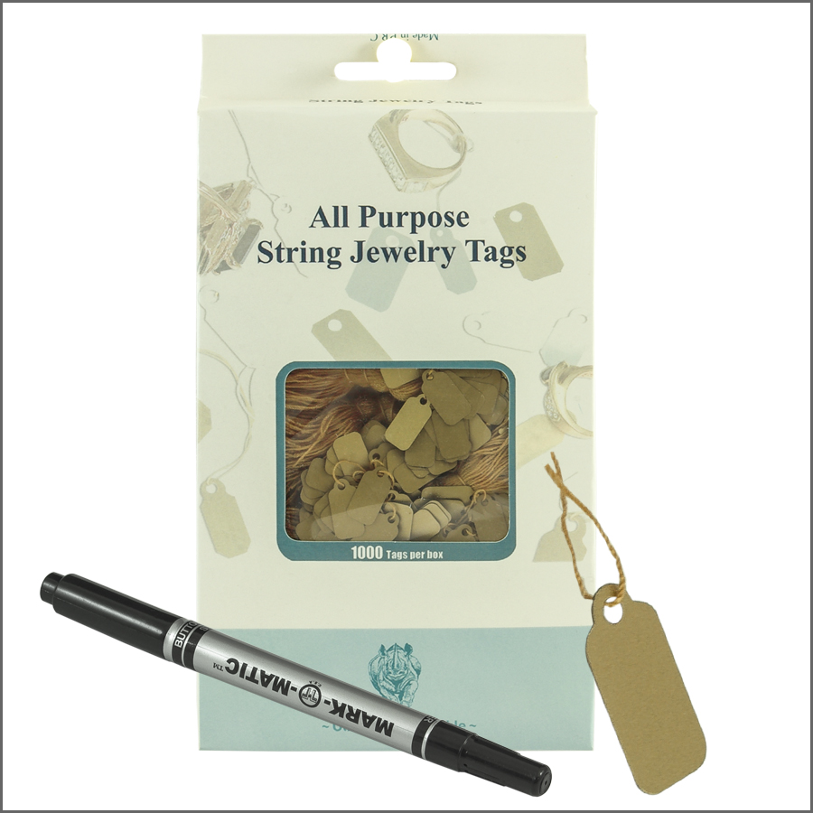 all purpose String jewelry Tags 8mm x 16mm-gold