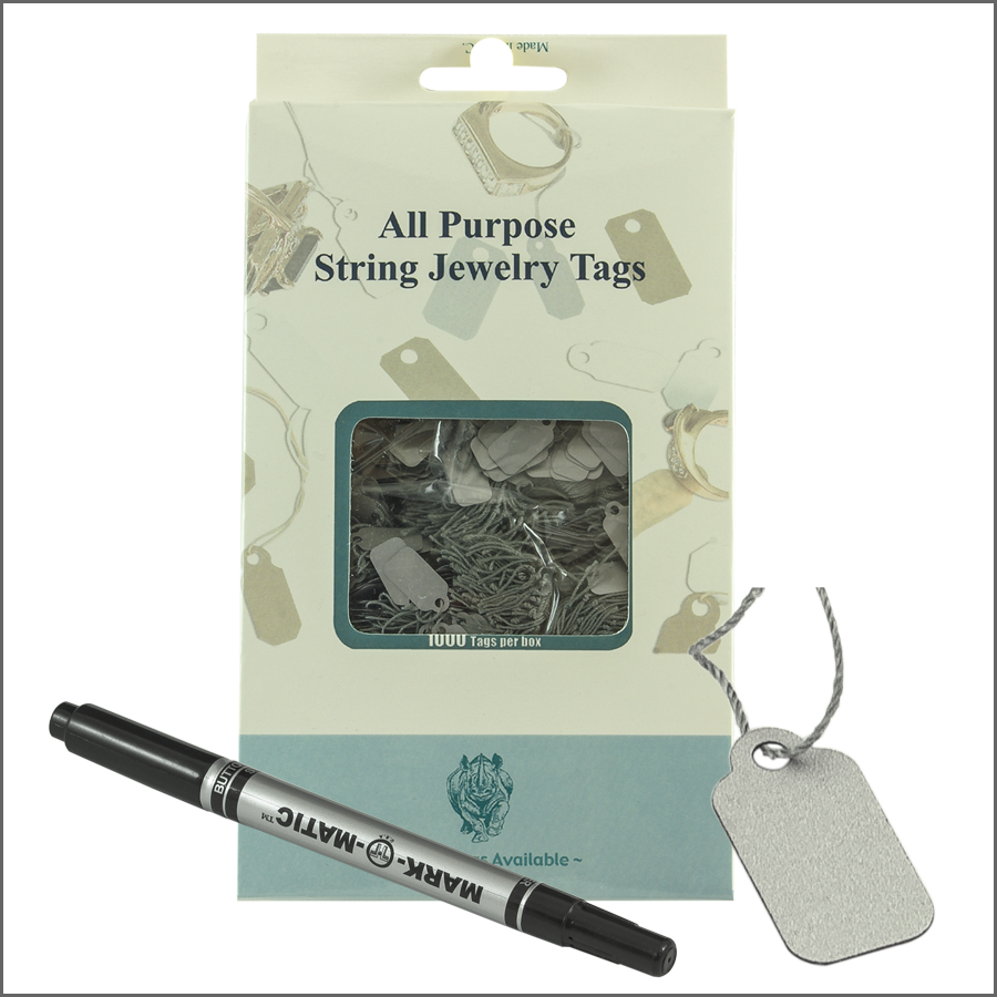 all purpose String jewelry Tags 8mm x 16mm-silver