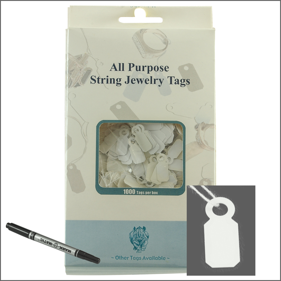 all purpose White String jewelry Tags 8mm x 20mm