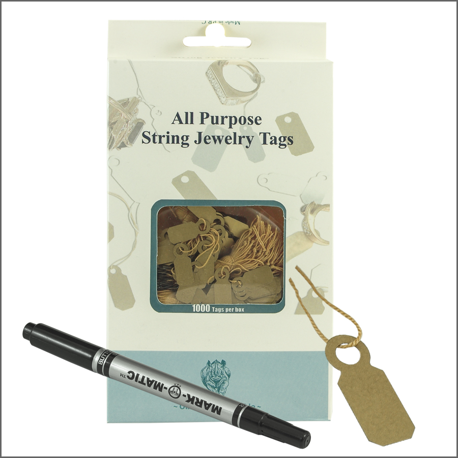 All purpose  String jewelry Tags 8mm x 20mm-gold
