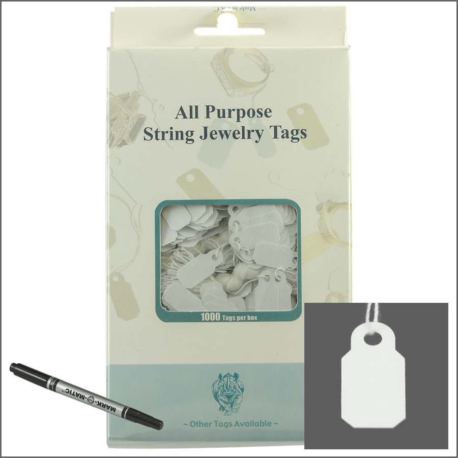 all purpose White String jewelry Tags 10mm x 22mm